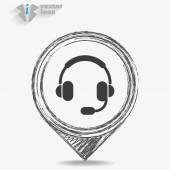 Black and white earphones Icon — Vetor de Stock