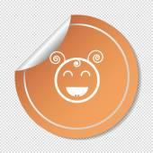 Happy little girl web icon — Stock Vector