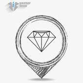 Big Diamond icon — Stockvector