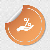 Percentage on hand web icon — Stock Vector