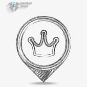 Black vintage crown isolated — Stock Vector