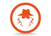 Anonymous spy agent icon — Stock Vector