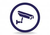 Cctv, web pictogram ondertekenen. — Stockvector