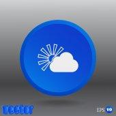 Sun behind the cloud web icon — Stock Vector