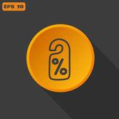 Percent discount sign, web icon. — Stock Vector