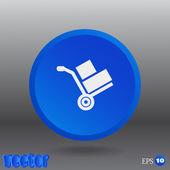 Wheelbarrow for transportation of cargo web icon — Stock Vector