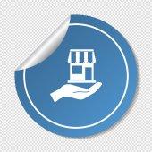 магазин на значок руки веб — Cтоковый вектор
