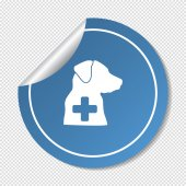 Dog and a cross in blue circle — Stock Vector