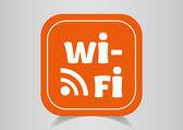 Icon on orange button — Stockvector