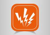 Icon electricity on  orange button — Stock Vector