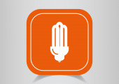 Icon on  orange button — Stock Vector