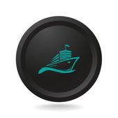 Icon ship on black button — Stockvector