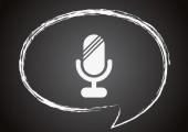 Ikonen mikrofon på en svart tavla — Stockvektor