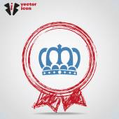 Web icon crown inside Medal. — Vettoriale Stock