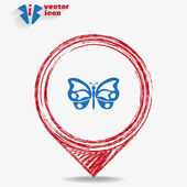 Icon butterfly on a red pointer — Stock Vector