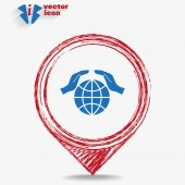 Icon  globe on red pointer — Stock Vector