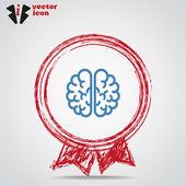 Web icon brain  inside Medal. — Stock Vector