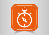 Icon stopwatch on  orange button — Stock Vector