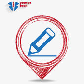 Icon on a red pointer — Stock Vector