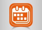 Icon on orange button — Stock Vector