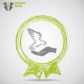 Icon  bird on hand inside Medal. — Vettoriale Stock