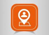 Icon pin on  orange button — Stockvector