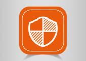 Icon protection on orange button — Stock Vector