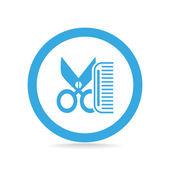 Comb and scissors icon — Stock Vector