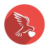 Holub s jednoduchým ikony srdce — Stock vektor
