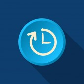 Simple clock with rounded arrow icon — Stock Vector