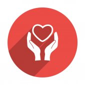 Heart in hands simple icon — Stock Vector
