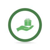 Gift box on hand web icon — Stock Vector