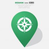 Compass web icon with wind rose — Stock Vector