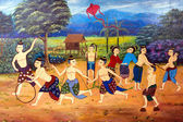 The photo mural of the old-fashioned way of life skits Thailand. — Stock Photo