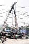 Cranes replace cement bridge builder. — Stock Photo