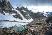 A lonely camp in the moutains — Stock Photo