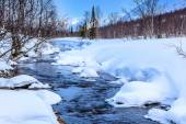 Winter landscape with river and mountains. above the Arctic Circ — Stock Photo