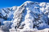 Big real avalanche in the Caucasus — Stock Photo