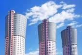 Tower-houses, similar to the large smokestacks — Stockfoto