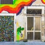Rainbow graffiti on the old wall — Stock Photo #70816329