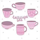Teacups set — Stock Vector