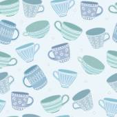 Teacups pattern — Stock Vector