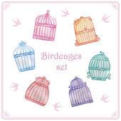 Watercolor birdcages set — Stock Vector