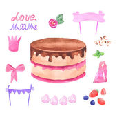 Hand painted watercolor cake. Vector illustration. — Stock Vector