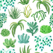 Akvarel bezešvé vzor s pokojových rostlin v květináčích — Stock vektor