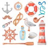 Watercolor nautical sea set — Stock Vector