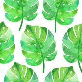 Exotic leaves, rainforest. Seamless, hand painted, watercolor pattern. Vector background. — Stock Vector