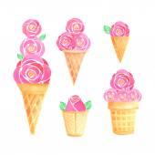Watercolor ice cream set — Stock Vector
