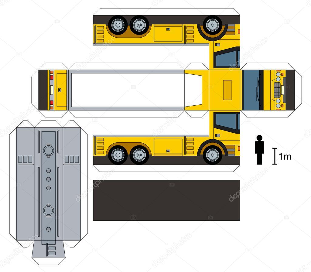 Maquette En Papier D Un Camion Citerne Image Vectorielle