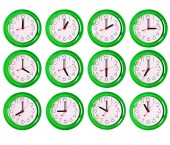 12 isolated clock variants — Stock Photo